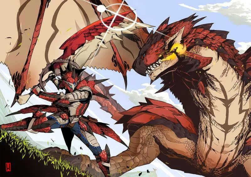 Hunter Vs Rathalos Monster Hunter Rathalos Monster Hunter Art