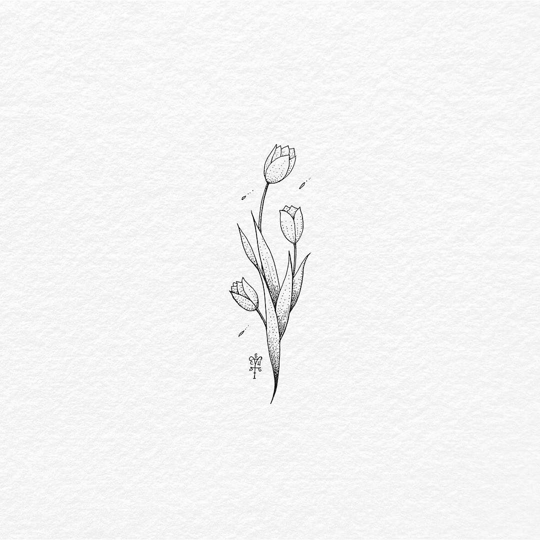 Flower Simple Tattoo Designs On Paper