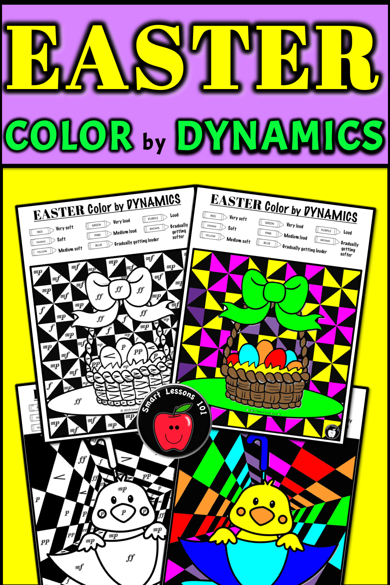 Distance Learning Easter Music Color By Code Worksheet