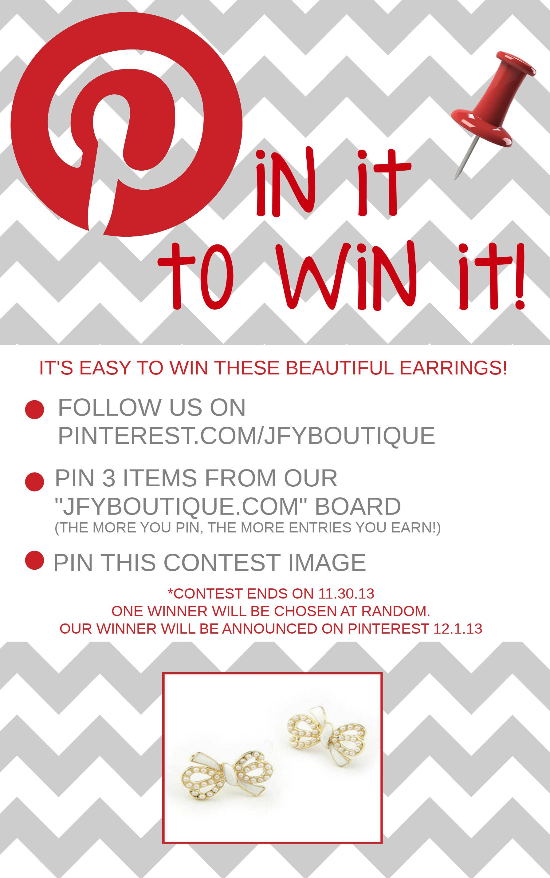 """Just For You's """"Pin it to win it"""" Giveaway! Follow the simple instructions for a chance to win a beautiful pair of earrings! Good Luck! {*ends 11.30.13} #giveaway #free #contest"""
