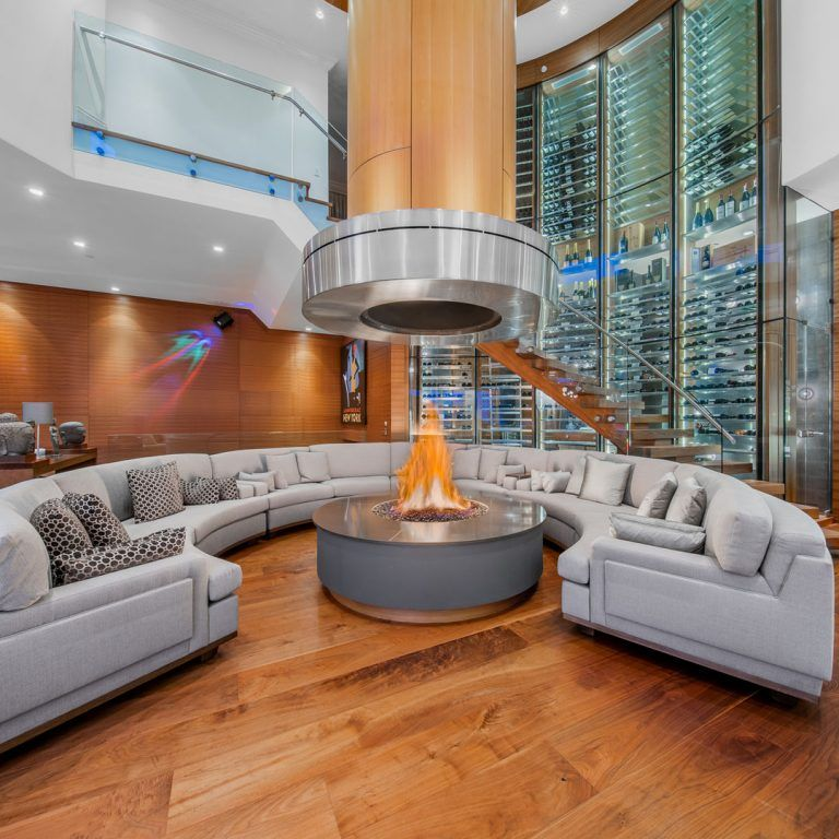 Spectacular Luxury Home With Curved Glass Wine Wall And Indoor Fire Pit Idesignarch Interior Design Architecture Interior Decorating Emagazine In 2020 Luxury Homes Home Interior Design Kitchen