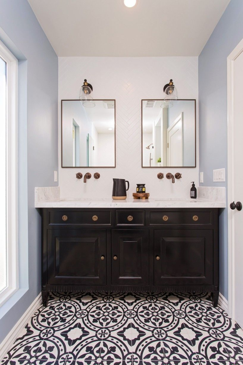 Dream bathroom. Herringbone subway tile. Wall mount faucets. Mexican ...