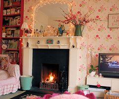 Fireplace in bedroom.