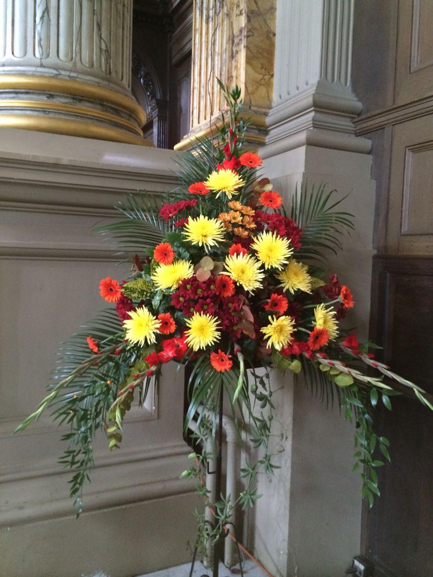 Autumn flower pedestal arrangement at St Phillips