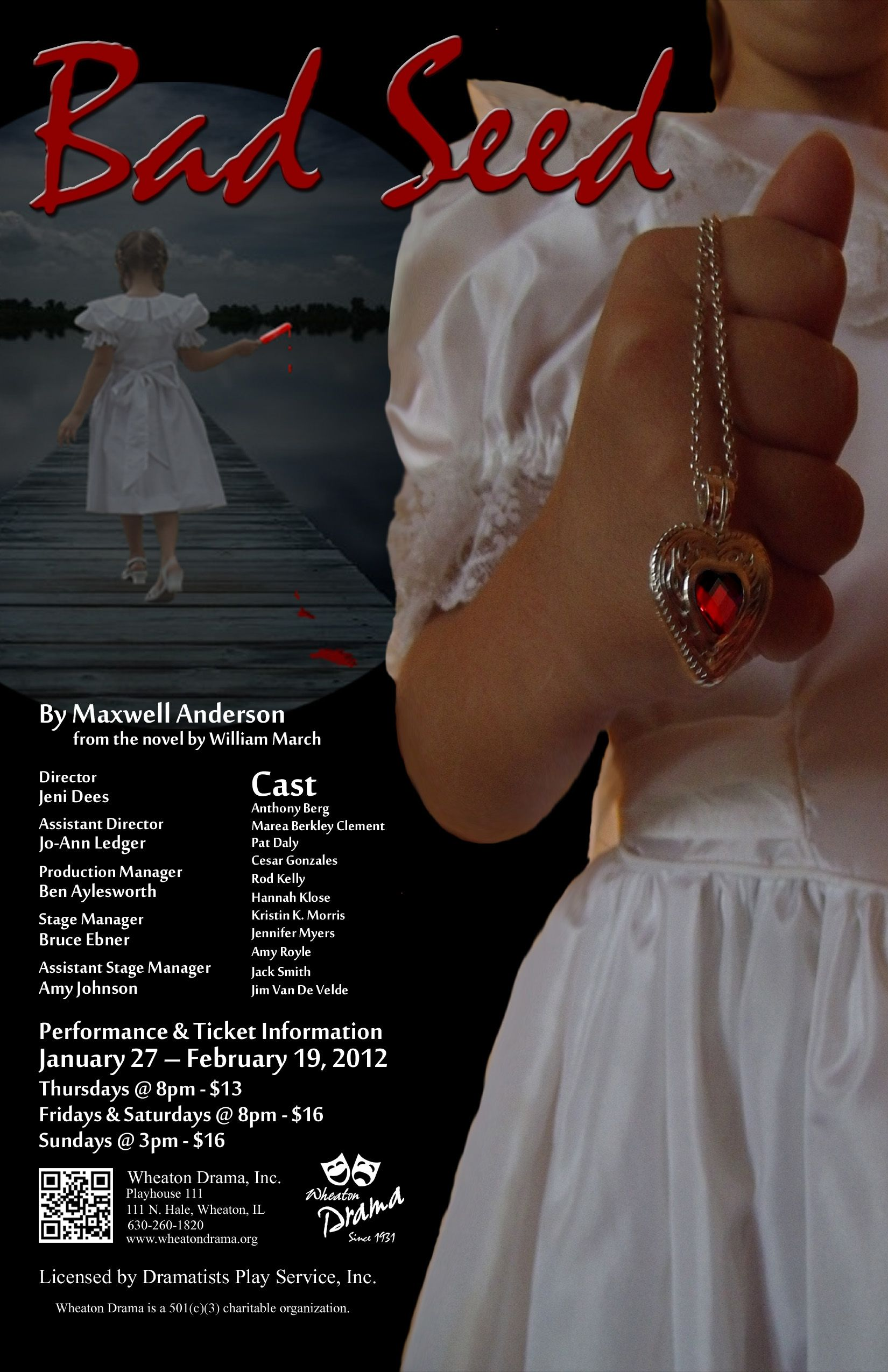 """Bad Seed"" Wheaton Drama poster 2012. Design by Traci A. Cidlik."