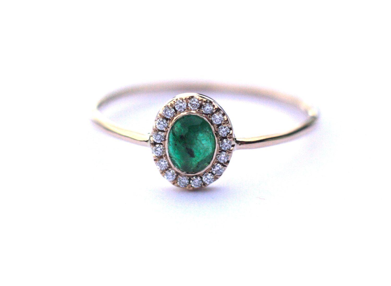Souvent Halo anneau d'émeraude, halo bague de fiançailles, bague en  KM84