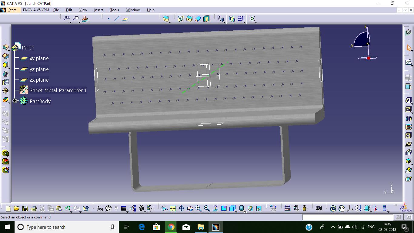 Design Of A Bench On Catia Sheet Metal Operation Mechanical Engineering Design Engineering Design Sheet Metal