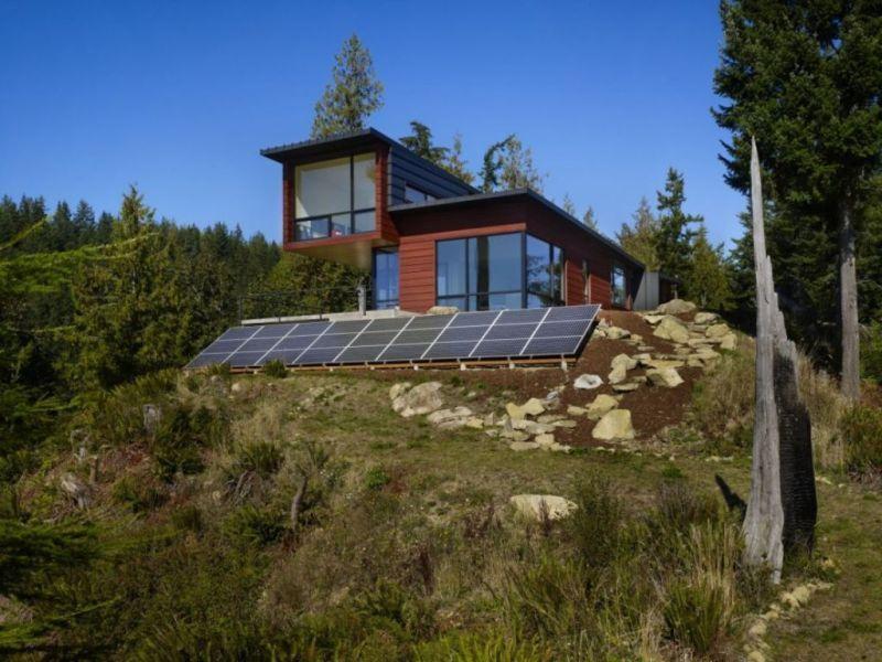 Simple Modern Minimlist Eco House Solnechnye Paneli Vne Seti Zhizn Na Prirode