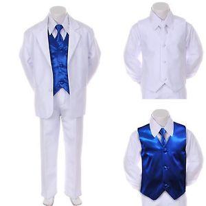 Boy Teen Formal Wedding Party 7pc Black Suit Tuxedo Lilac Vest Bow Tie sz 8-14