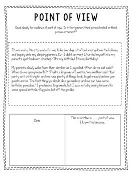 Point Of View Freebie Pack First Person Third Person Limited Omniscient Third Person Point Of View All About Me Worksheet Point of view grade worksheets