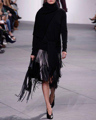 2488b92465 MICHAEL KORS Fringed Lamb Leather Pencil Skirt, Black. #michaelkors #cloth #