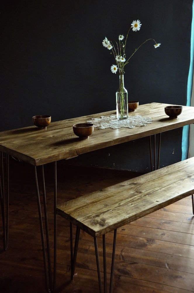 Reclaimed Wood Dining Table & Bench Industrial Rustic Hairpin