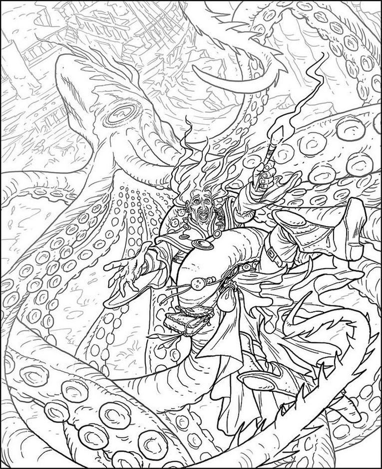 kraken - fantasy animal coloring pages for adults | Fantasy Coloring ...