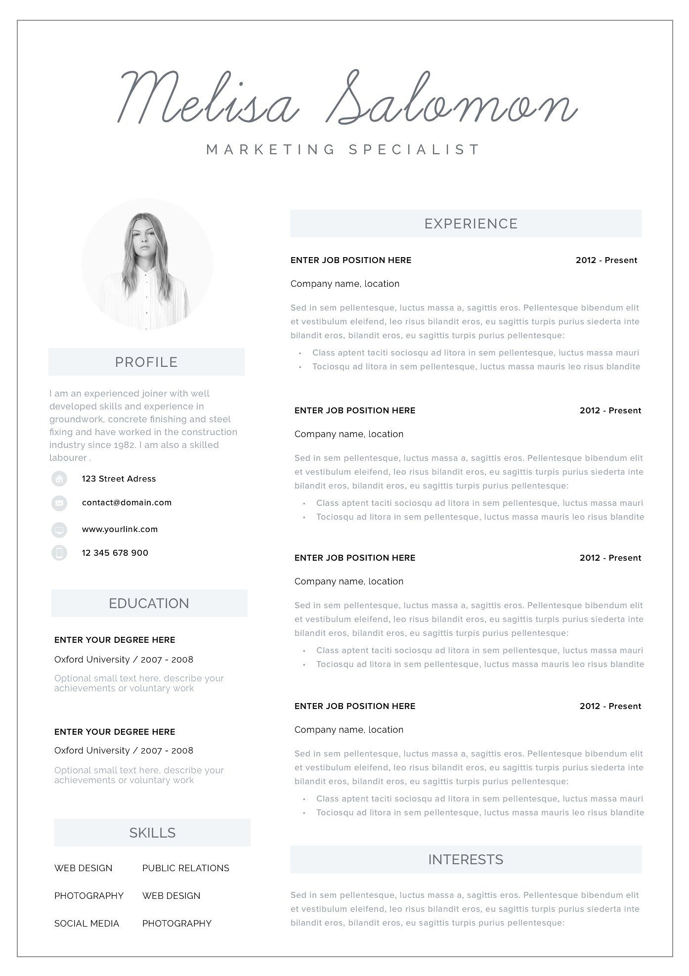 Resume Template 1, 2 page Melbourne Teaching resume