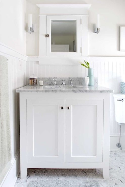 Papyrus Home Design Bathrooms White Beadboard Backsplash Bathroom Cabinet Carrara Marble Countertops Inset Med
