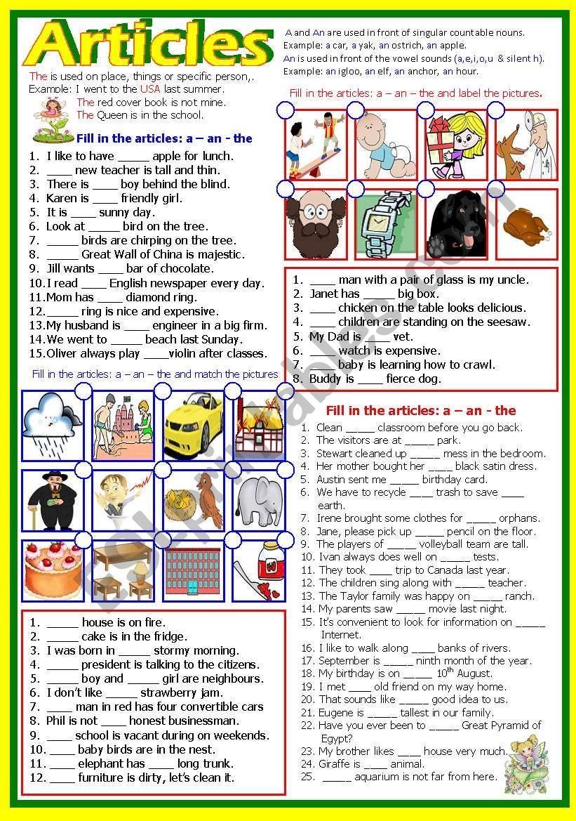 Another Worksheet I Prepared For My Class It Has Few Exercises The First Pa Definite And Indefinite Articles English Teaching Resources English For Beginners [ 1169 x 821 Pixel ]