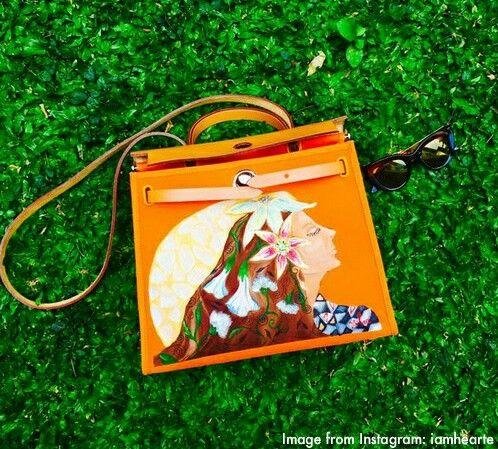 Heart Evangelista's art painting on Hermes bag. Customized
