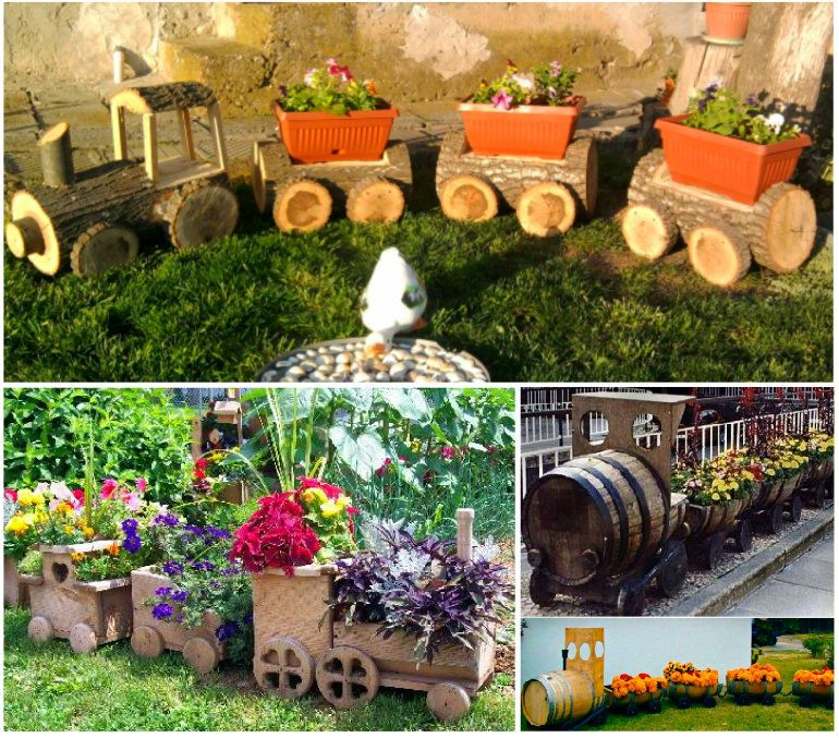 Wooden Log Train Planter Garden Project Lawn N Garden Ideas
