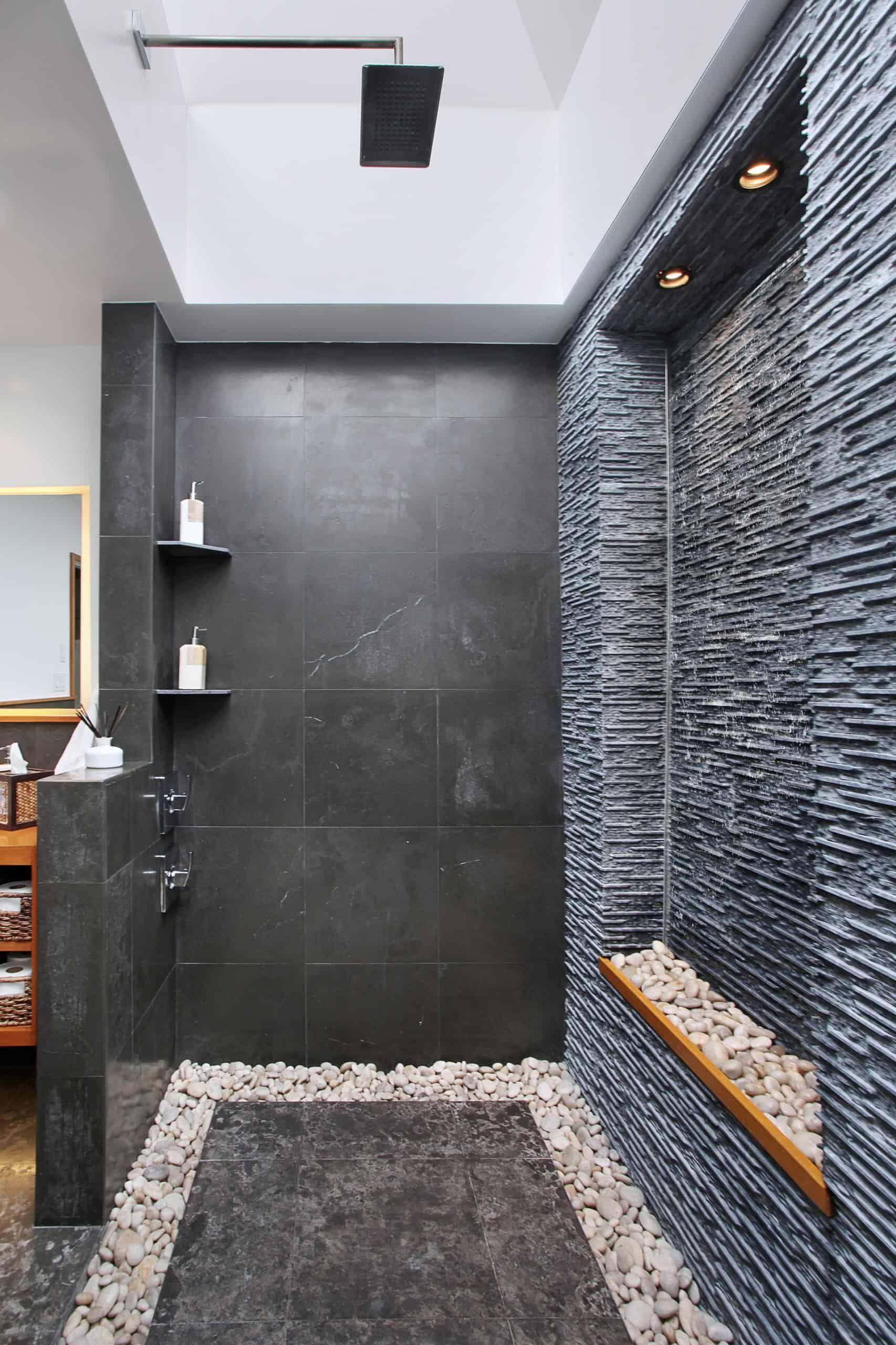 36 Doorless Walk In Shower Ideas And Designs 2020 Edition Masculine Bathroom Decor Shower Remodel Masculine Bathroom