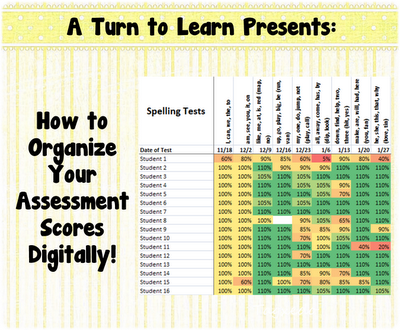 how to organize your assessments digitally! go here to download a digital gradebook that automatically color-codes your scores based on the students' performance. and, it's FREE!