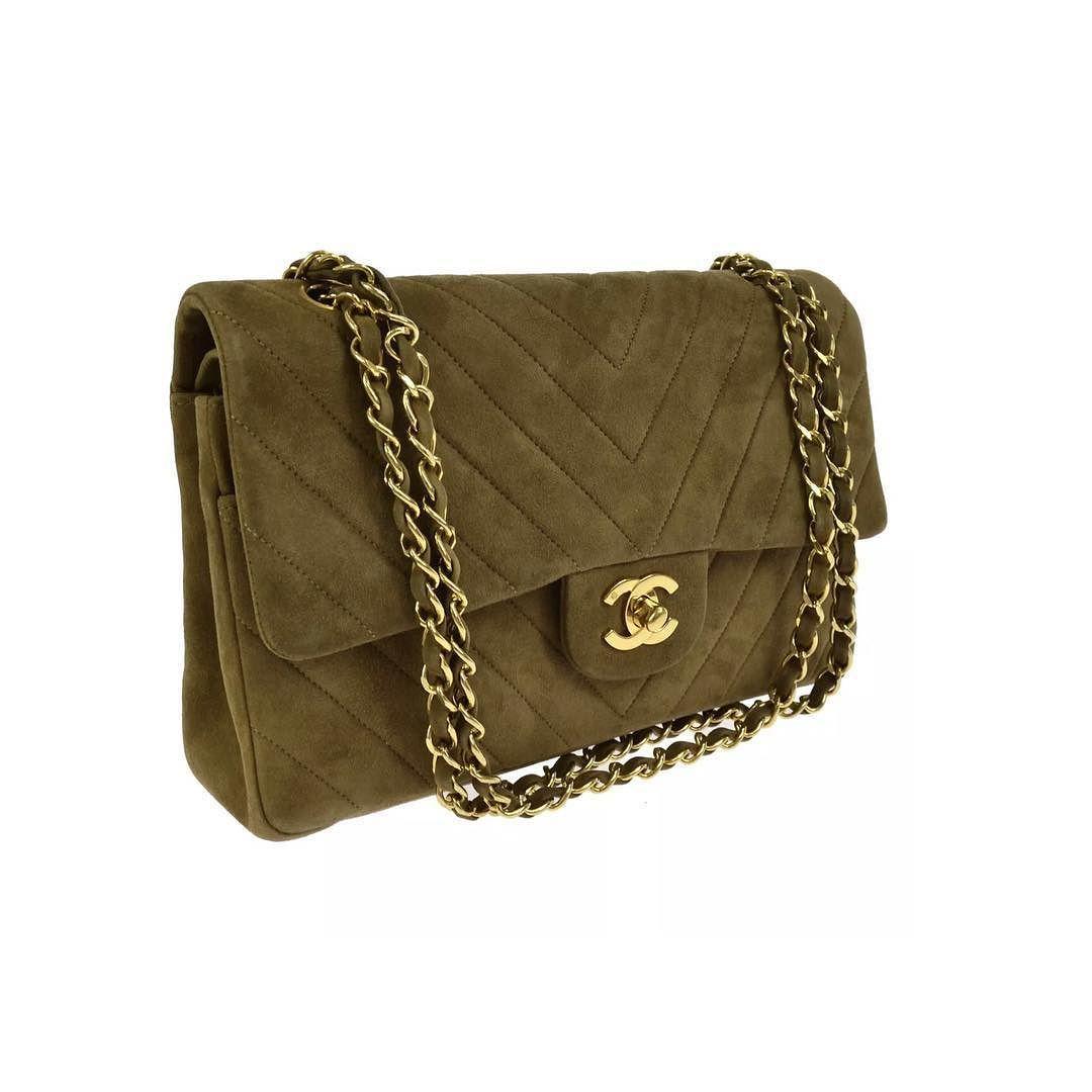 a6632a420c67 Chanel natural brown suede chevron flap bag measures 10 x 6 x 3