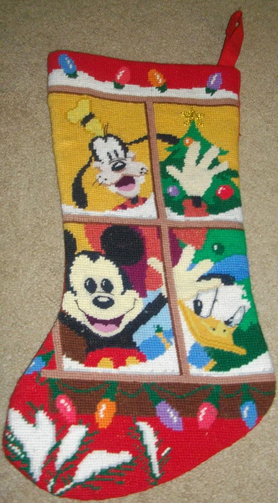 Disney Cross Stitch Christmas Stocking Patterns.Retired Disney Mickey Mouse Goofy Donald Duck Needlepoint