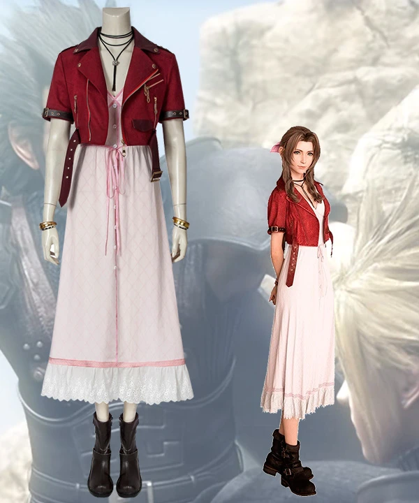 Final Fantasy VII Remakes Aerith Gainsborough Cosplay Costume Dress Outfit