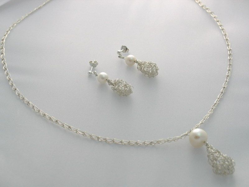 Brautschmuck set silber  925 Silber Set Kette Ohrringe Perle Tropfen Braut | Produkte