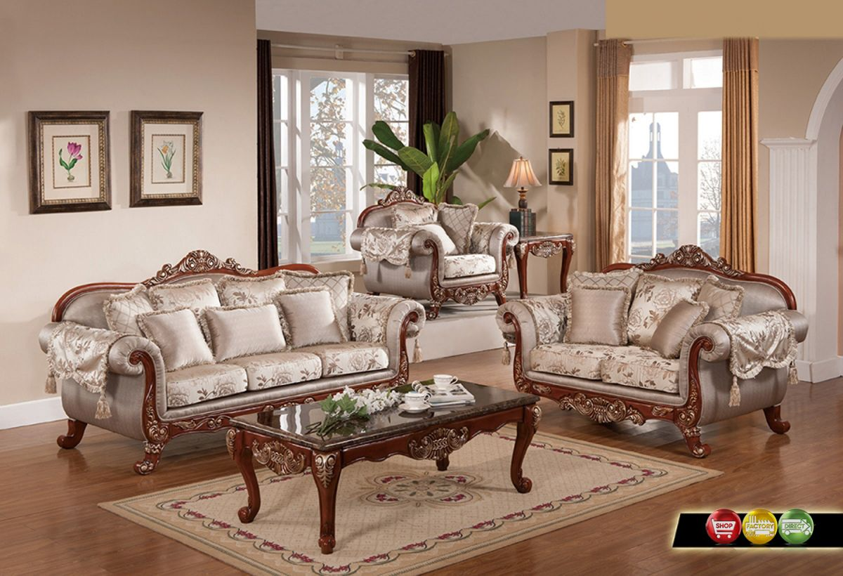 Luxurious Traditional Formal Living Room Furniture Exposed Carved