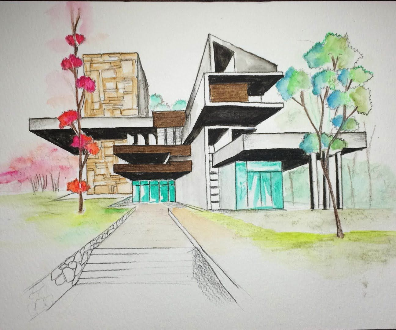 Watercolor Pencil Art 2 Architectural Freehand One Point