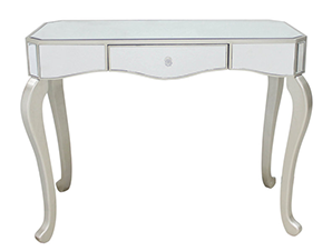 Mirrored Console Table with Curved Gold Leg
