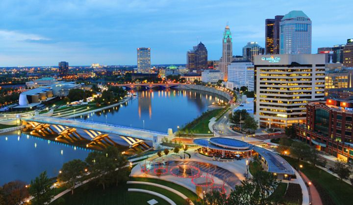 Heres another aerial photo of the scioto mile the mile