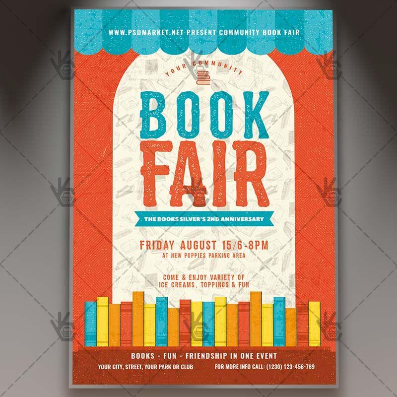 Book Fair  Premium Flyer Psd Template Author Book Books