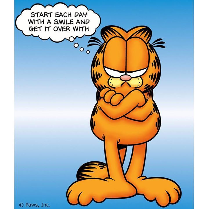 Start Each Day With A Smile And Get It Over With Garfield And Odie Garfield Garfield Comics