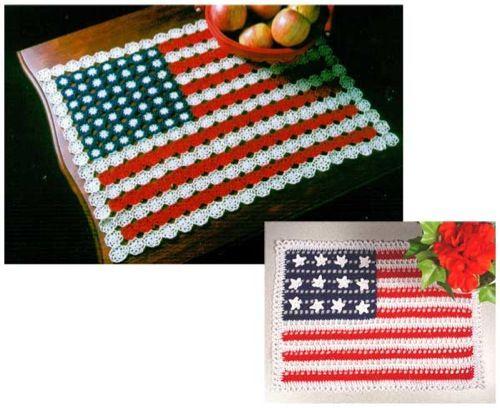 PS071 American Flag Doilies Crochet Pattern- http://www.maggiescrochet.com/american-flag-doilies-pattern-p-1216.html#.UVmxS1eNpZ0 #crochet #pattern #American #flag #doily