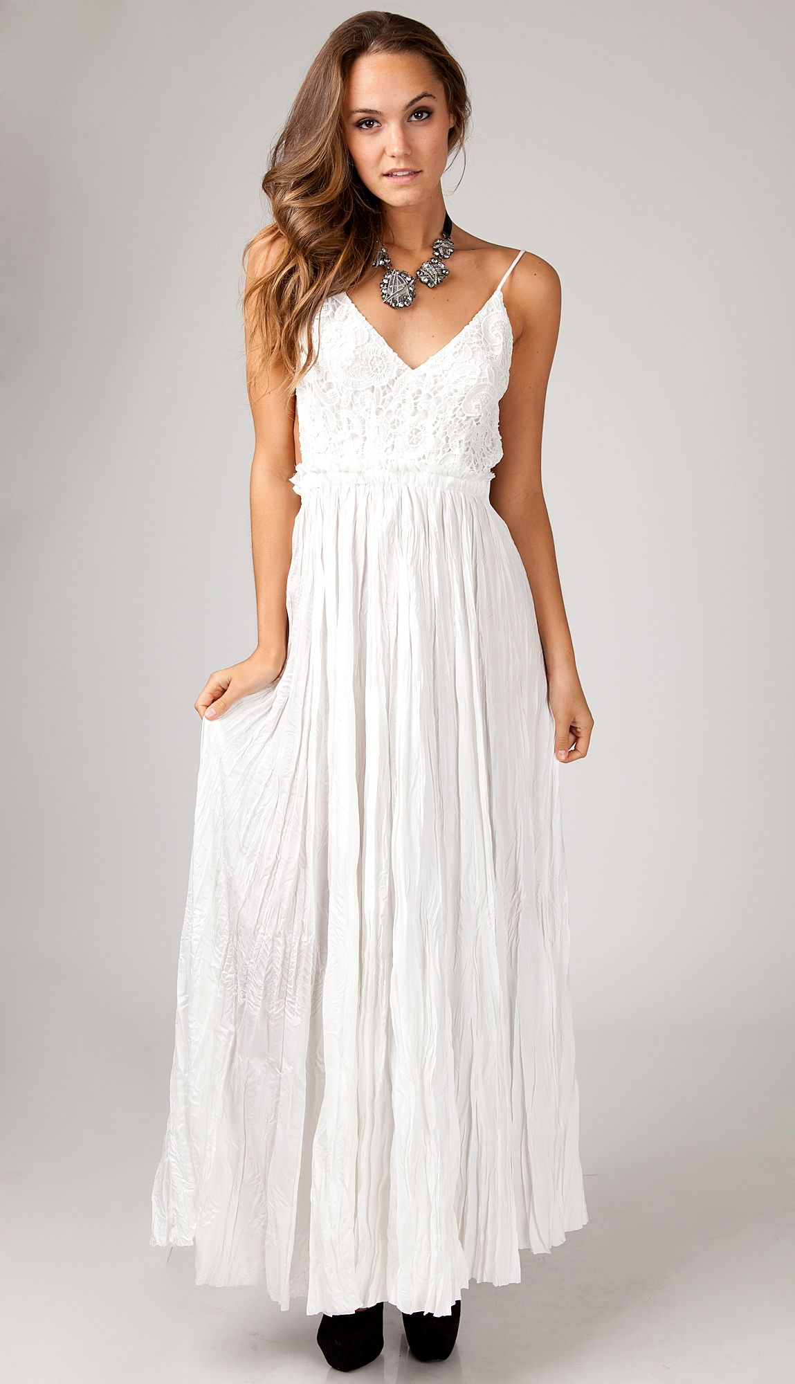 Images of Long White Lace Maxi Dress - Reikian
