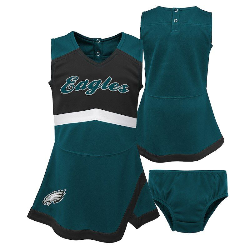 7f1aeecc9 Philadelphia Eagles Girls Preschool Cheer Captain Jumper Dress – Midnight  Green/Black