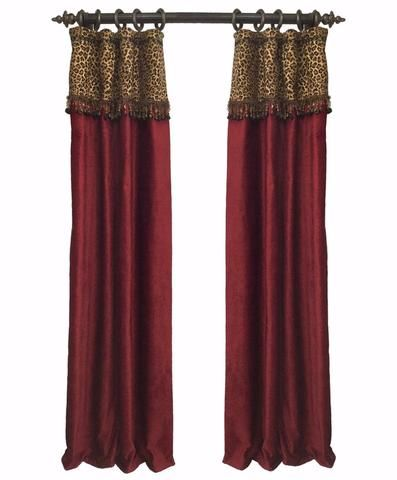 Luxury Curtain Panel Red Chenille and Leopard Print Style#7 Karlye
