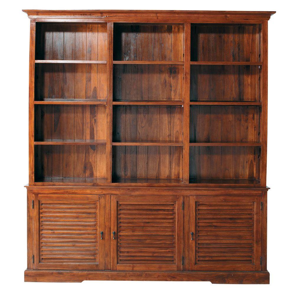 Bücherregal aus massivem Teakholz mit Schranktüren, B 212 cm ...