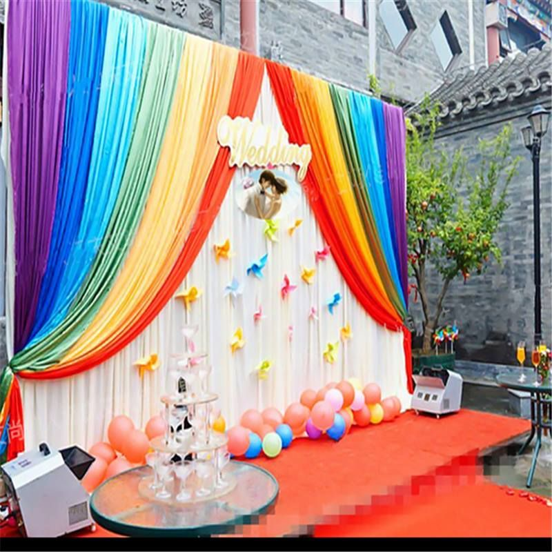 15 Beautiful Curtains Decorations For Birthday Parties Artcraftvila Rainbow Decorations Birthday Backdrop Fun Wedding Decor