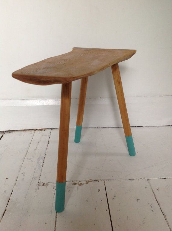 Vintage, oak, live edge, three legged foot stool or drink stool. This stool has been stripped and oiled with Danish oil. The legs have been given accents in chalk paint and waxed. The stool is 45.5cm long and 37cm high. At its widest point the surface is 24cm wide and tapers to 13cm | £149| #UpcycledStool | Recycled by Jessica