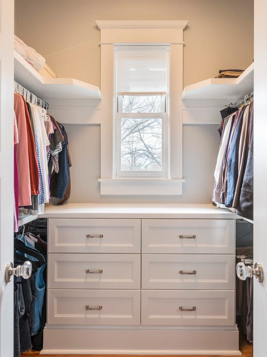 Inspiring Storables Custom Closet Shelving Fabric: Minimalist Walkin Closet  With Storables Custom Closet Shelving Chest Of Drawers And Small Windowu2026