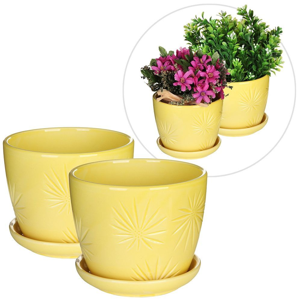 Add A Dash Of Warmth And Cheer To Your Home Patio Garden Decor With This Set Of 2 Identical Sunburst Design Yellow Ceramic Plant Pot Decoration Flower Planters