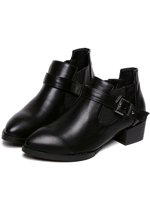 Black Buckle Strap Chunky Heel Boots 34.00