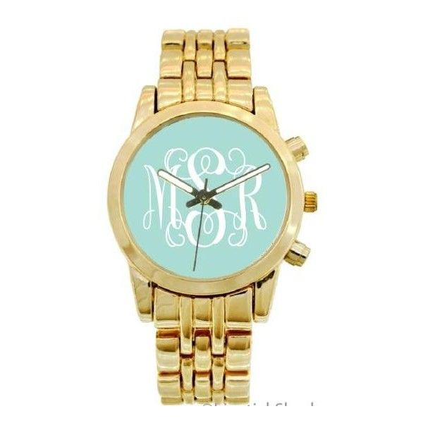 Monogrammed Boyfriend Watch In Gold Plated And Stainless Steel ❤ liked on Polyvore featuring jewelry, watches, gold plated jewelry, gold plated watches, gold plated jewellery, stainless steel wrist watch and stainless steel jewelry