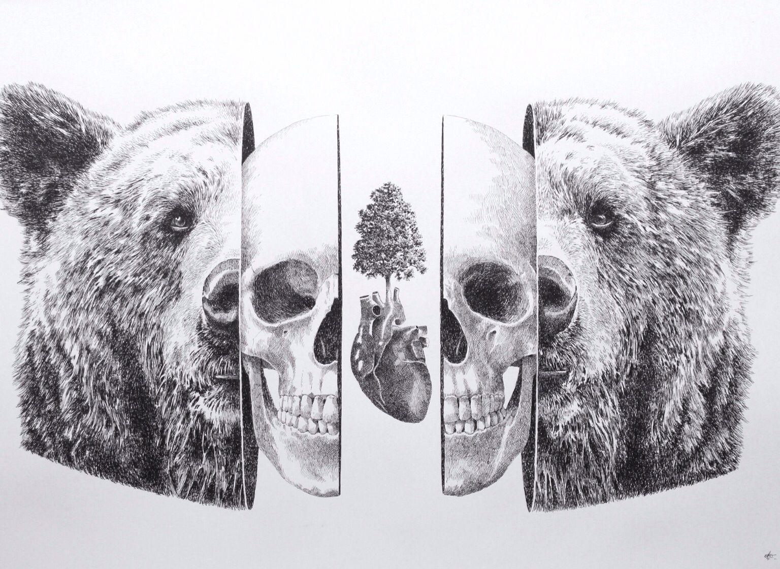Love. Original-ink on paper (100X70cm) #love #metafisica #ottodambra #illustration #inside #symmetricdesign