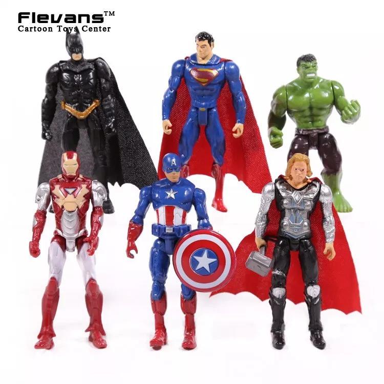 6 PCS DC Avengers Batman Hulk Thor Iron Man Superman Action Figure Toy Kids Gift