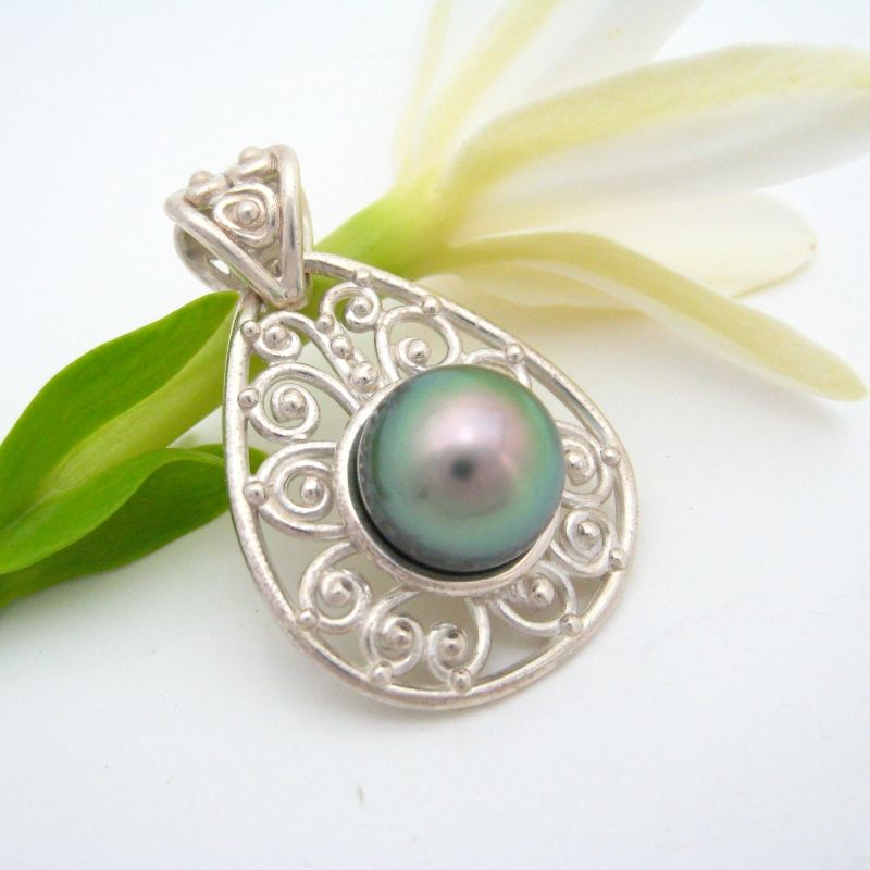 Handmade silver and pearl pendant
