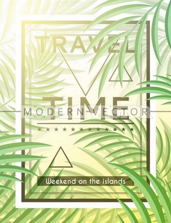 Exotic background with palm leaves by Modern vector on @creativemarket