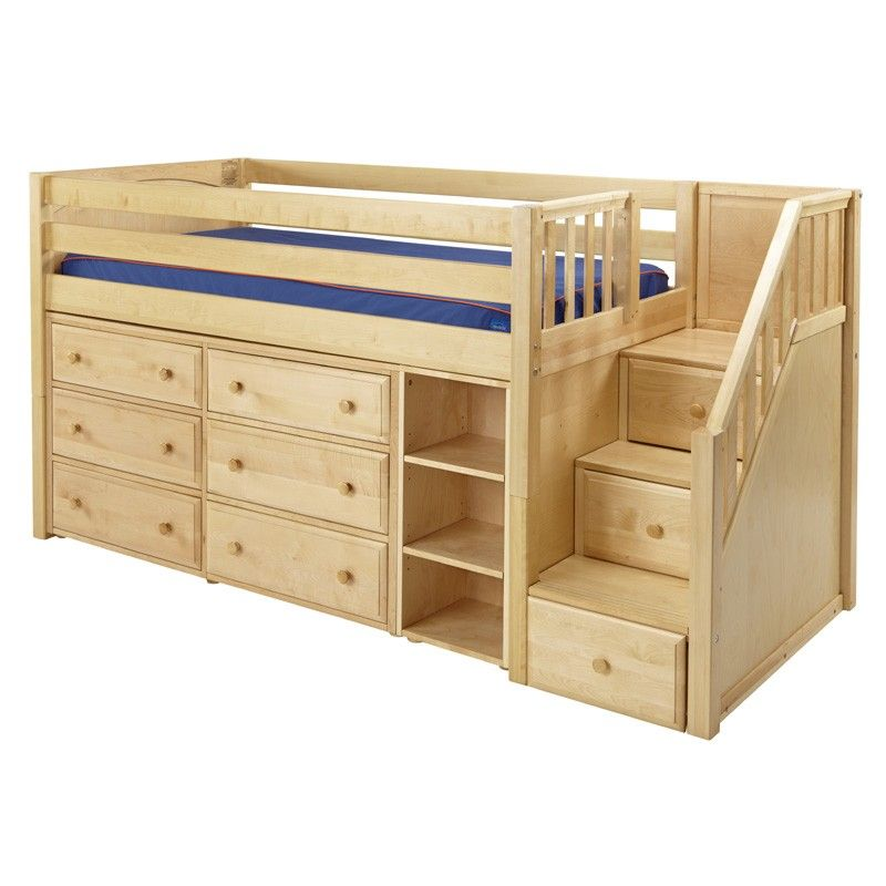 The Marlowe Low Loft Bed With Dressers Bookcase And Staircase Is